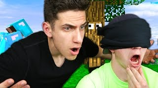 PLAYING MINECRAFT BLINDFOLDED WITH UNSPEAKABLEGAMING! (Minecraft Trolling)