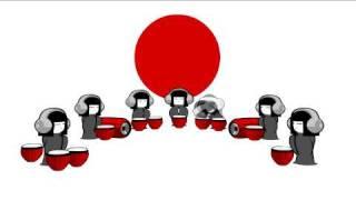 Japanese animation of Geisha Dolls playing drums.