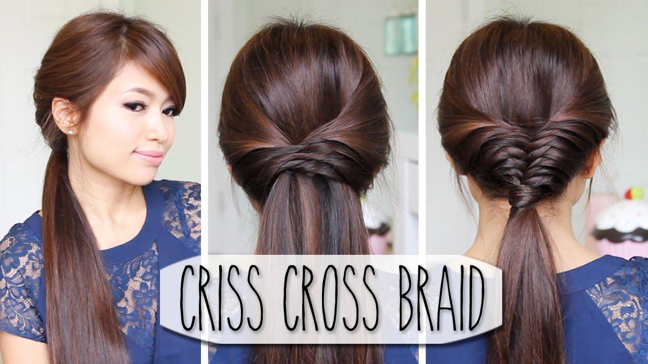 Criss Cross Braid Hair Tutorial French Fishtail Cheat Easy
