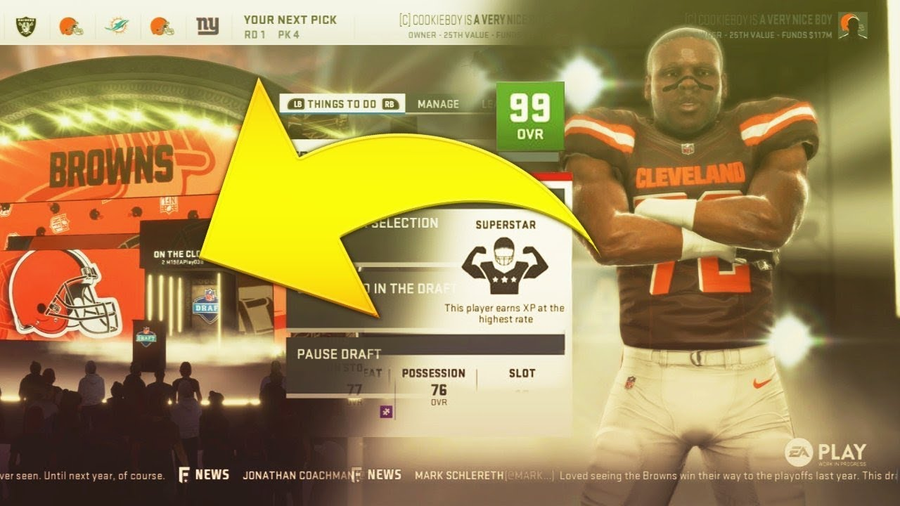 2019 NFL Draft in Madden 19 Connected Franchise