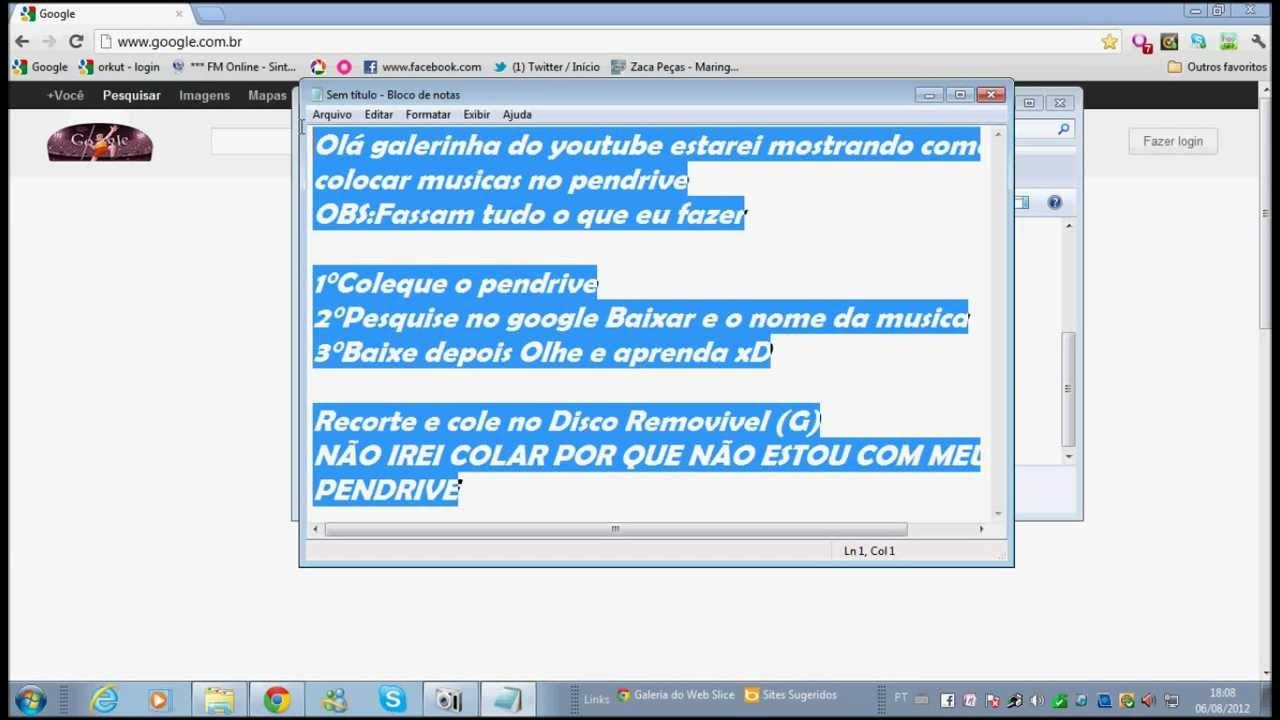 Como gravar musicas no pen drive - YouTube