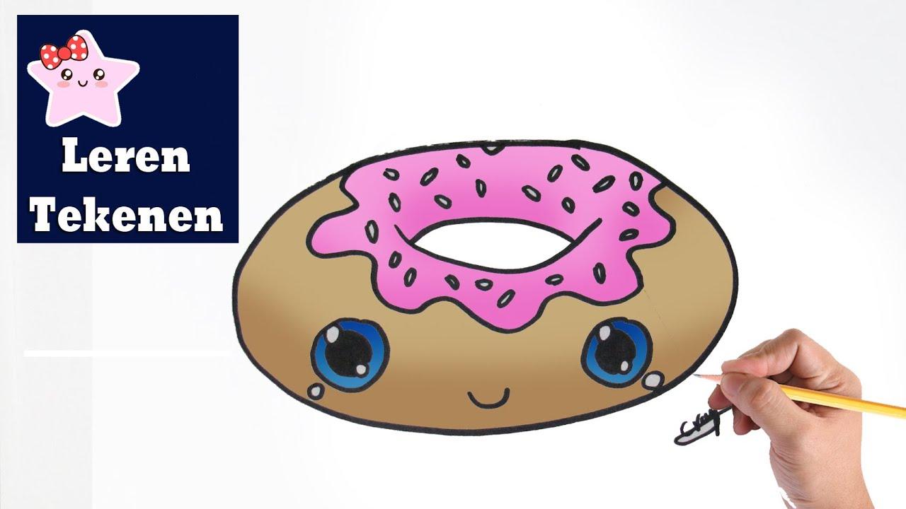 Hoe Teken Je Een Donut Kawaii Beginners Tekenen Les 019
