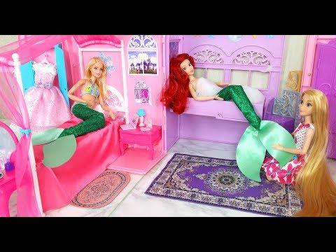Mermaid Barbie Rapunzel Ariel Princess Room Breakfast Morning Routine ; Princesa Sereia Boneca