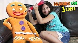 DESAFIO COLORINDO COM 3 CORES NO BISCOITO DE NATAL!!! 3 colors christmas cookie
