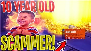 10 YEAR OLD NICEST Scammer SCAMS Himself *SCAMMER GETS SCAMMED* In Fortnite Save The World