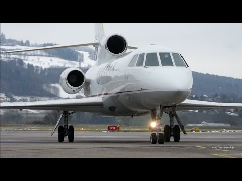 Dassault Falcon 50 Taxi and Take-Off at Bern Airport