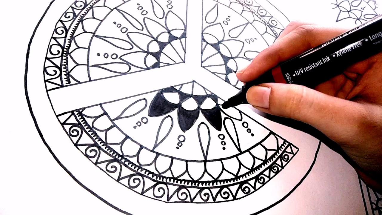 Peace Mandala Art   Black and white dreams