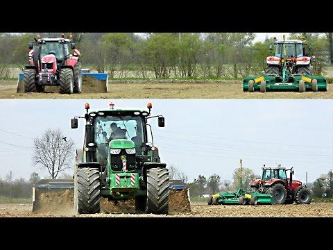 Massey-Ferguson & John Deere livellamento risaia / ricefield grading 04/04/2015