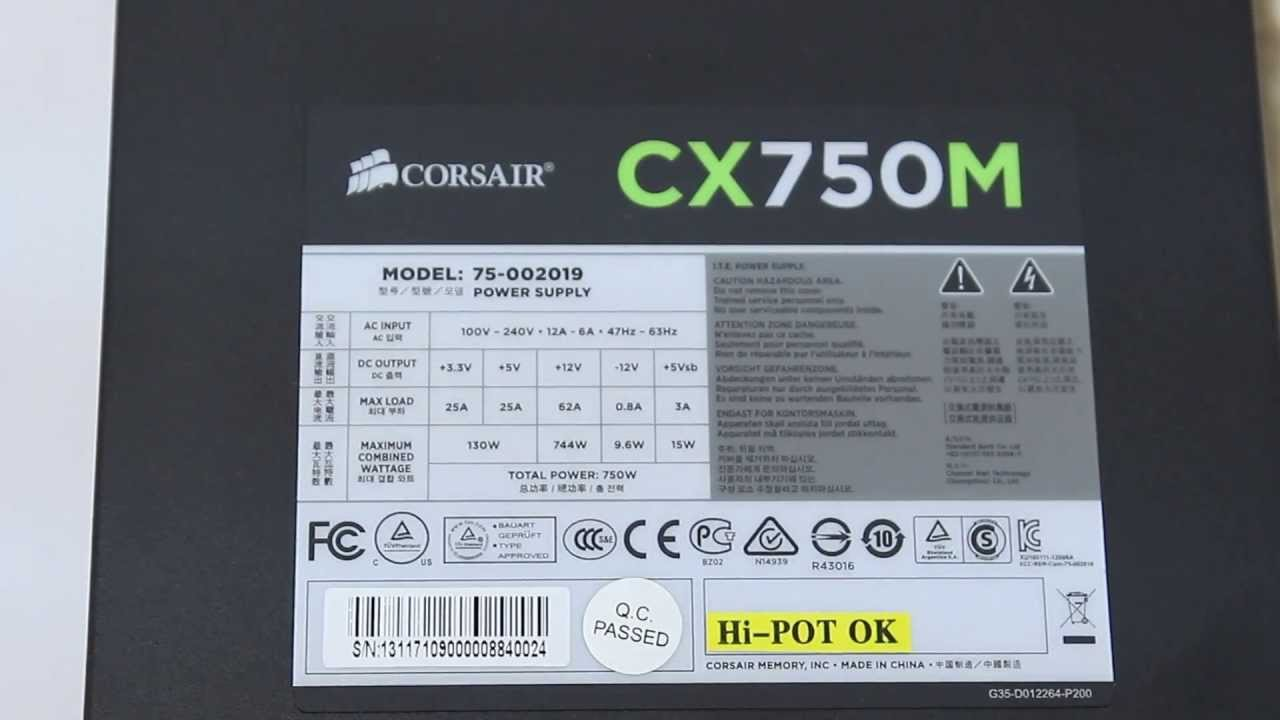 Unboxing Power Supply Corsair Cx750m Modular 80  Bronce