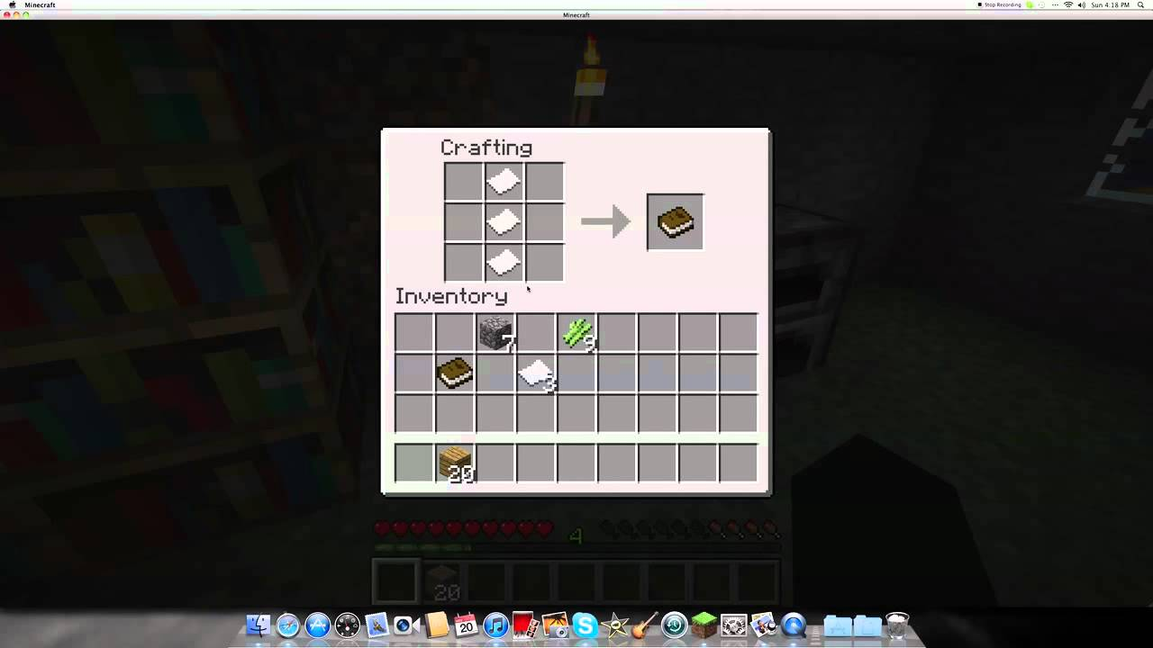 how to make paper,books,and bookshelves in minecraft - youtube