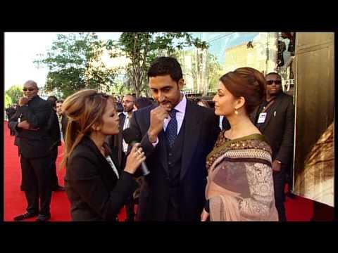 Aishwarya Rai & Abhishek Bachchan with BBC News presenter Tasmin Lucia Khan at Raavan World Premiere