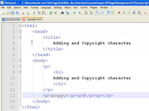 How To Create Web Pages Using Html How To Add Copyright Symbols To