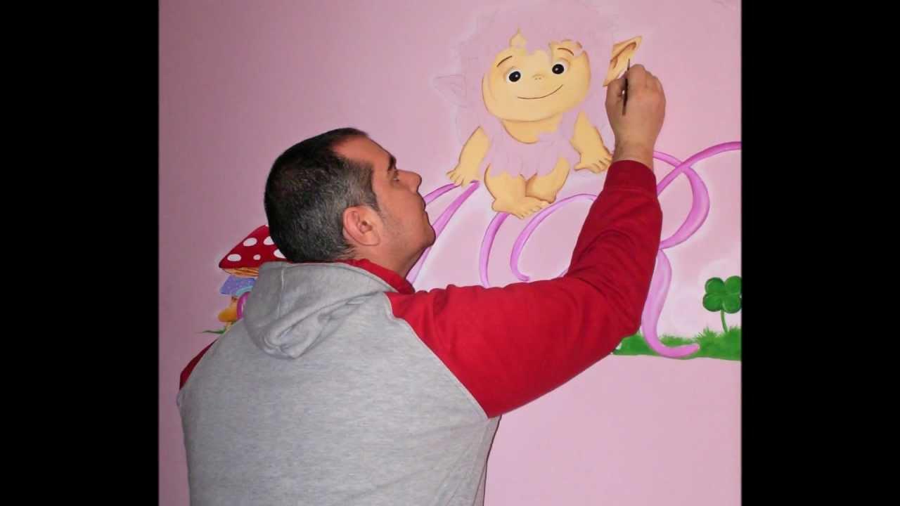 Dibujo en habitaci n infantil youtube - Dibujos pared habitacion infantil ...