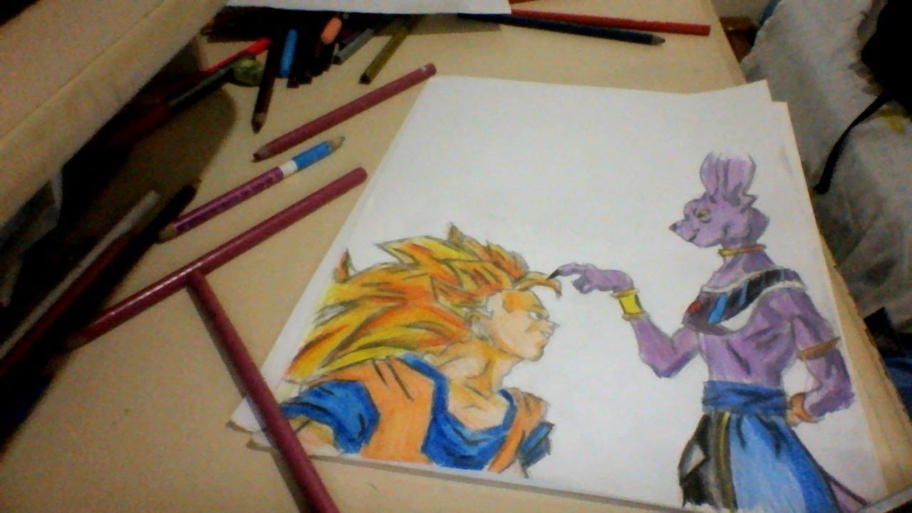 Drawing Goku Ssj 3 Vs Bills Dbz Battle Of Gods Youtube