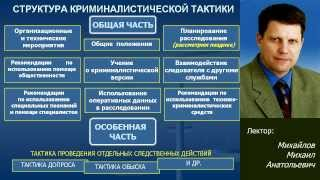 Общие положения криминалистической тактики  Лекция Михайлова М.А.Симферополь