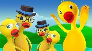 Пять Большие Утки | прыфмы | детская песня | Five Big Ducks Jumping On Bed | Farmees Russia