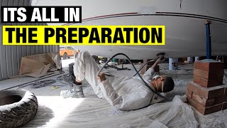 APPLYING FLOWCOAT TO BOAT HULL | FIBREGLASSING BOAT HATCH | FULL BOAT RESTORATION  PART 6