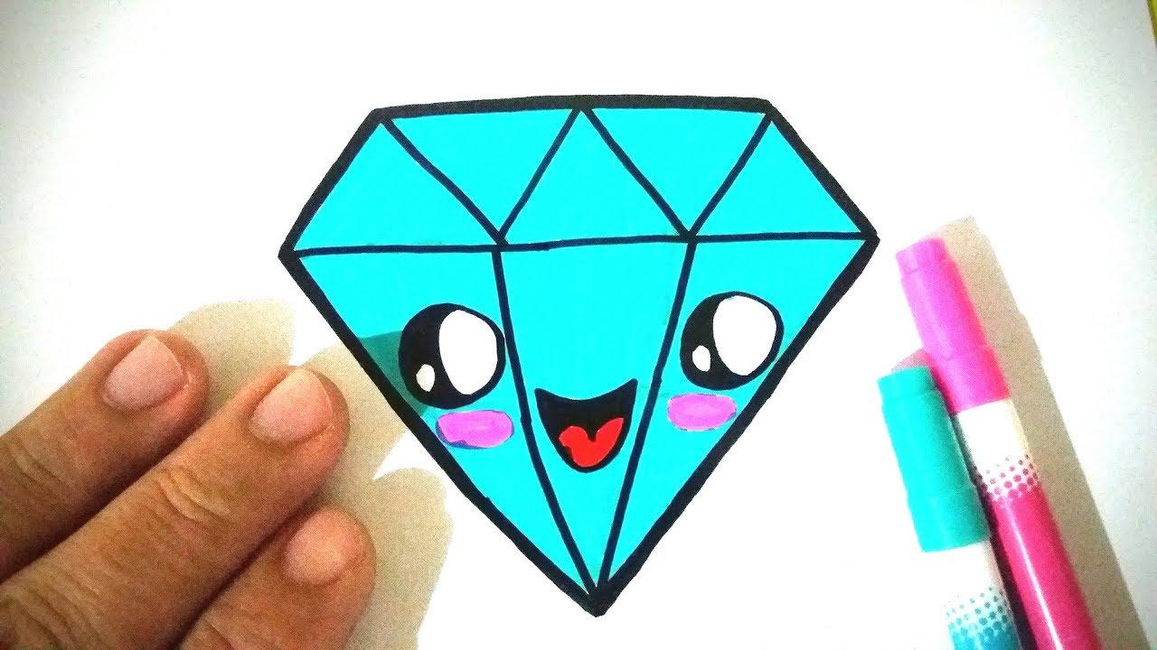 Como Desenhar Diamante Kawaii Fácil E Bonito Desenhos Bonitos Desenho Para Desenhar