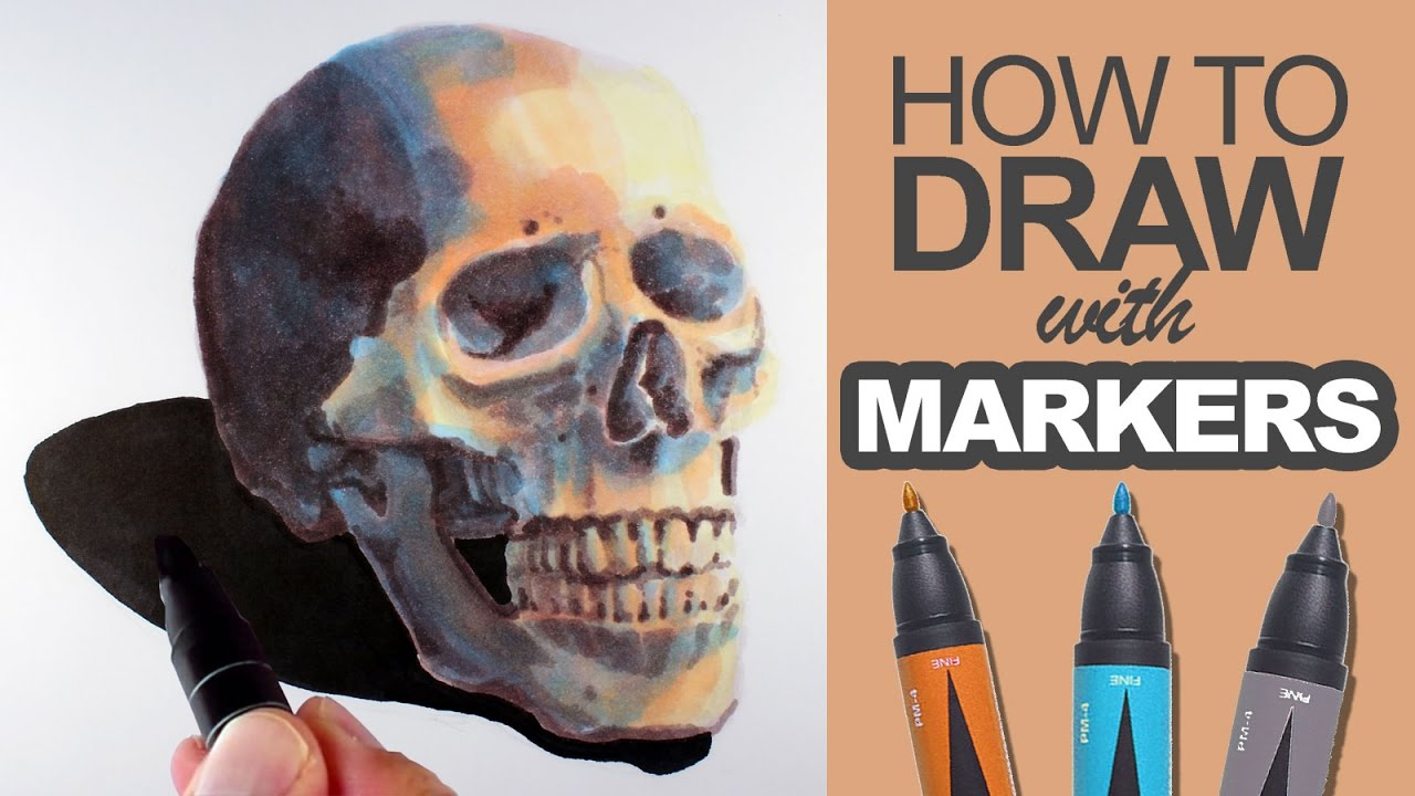 How To Draw With Markers Skull Demo