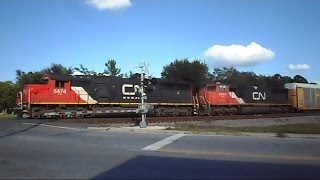 Canadian Nationals Pull Auto Rack Train Through Waycross Georgia