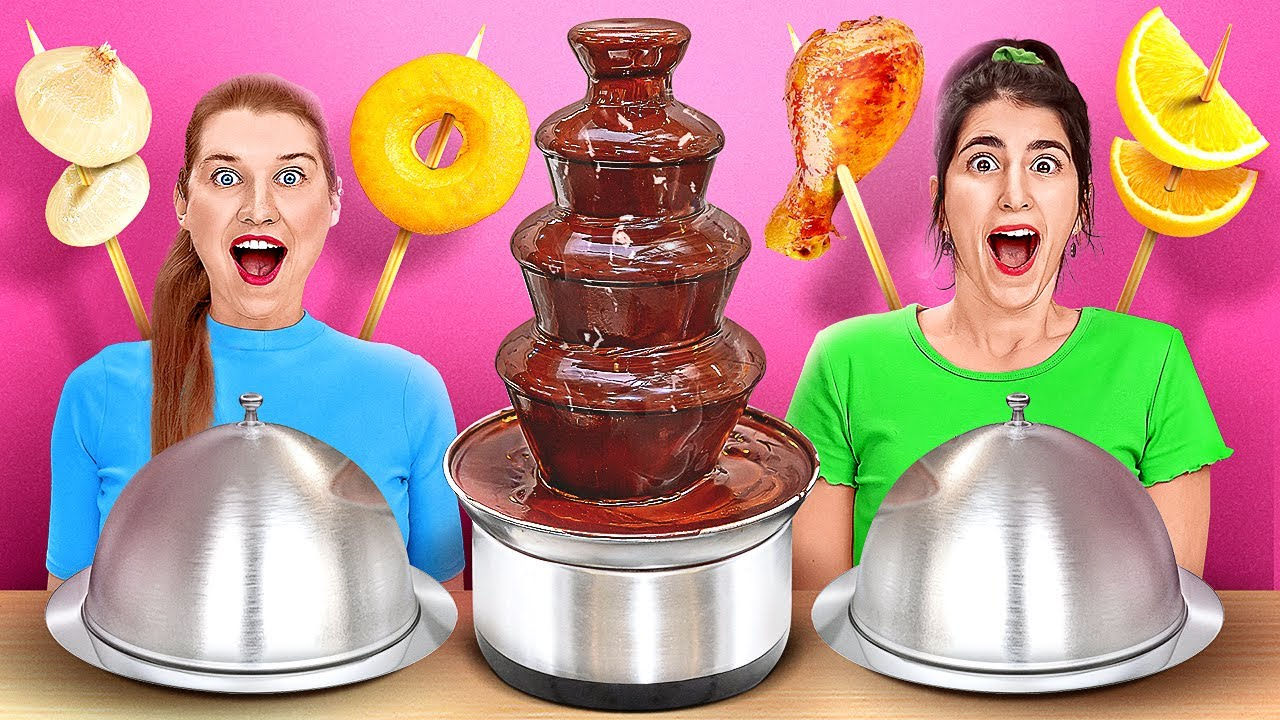 CHOCOLATE FOUNTAIN FONDUE CHALLENGE || Chocolate VS Real Food For 24 Hours By 123 GO! CHALLENGE