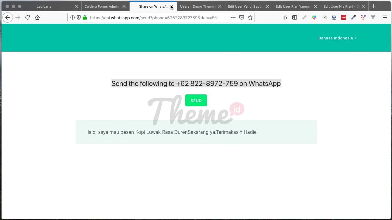 Caldera Form Redirect Ke WhatsApp