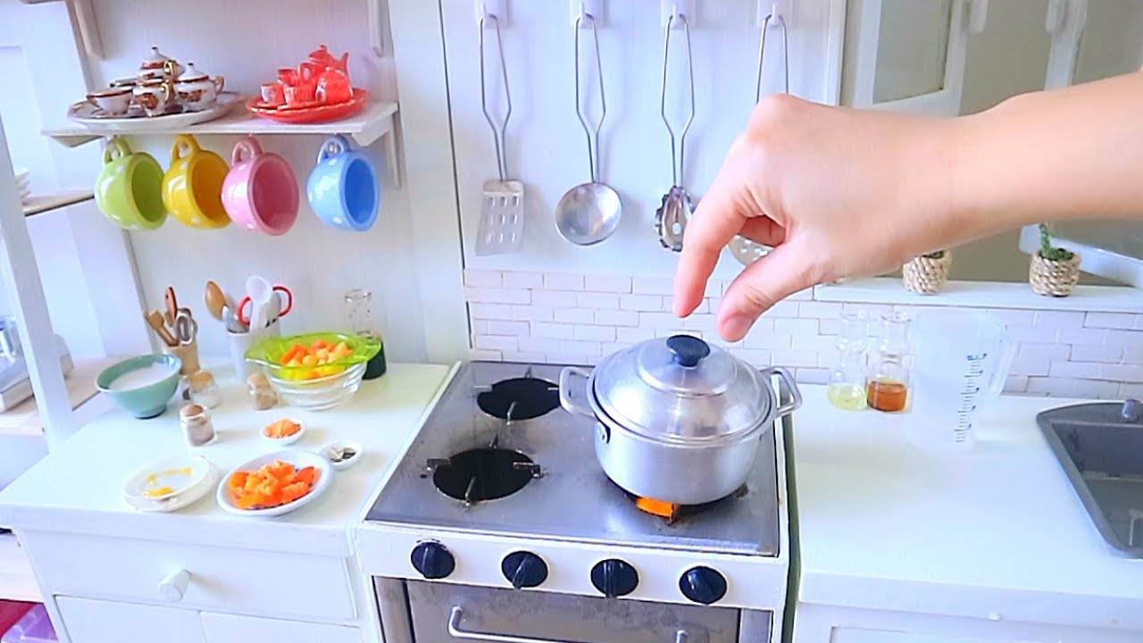 S2 Ep71 Miniature Cooking Coconut Beef Curry Kitchen Play Set Real Food Asmr Sounds Youtube