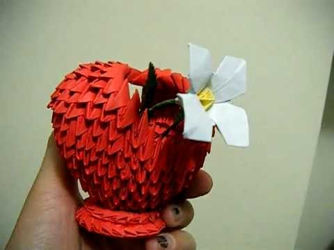 3d Origami Small Red Heart Shaped Basket White Narcissus Flower
