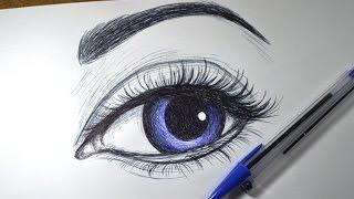Como desenhar Olho realista simples com Caneta