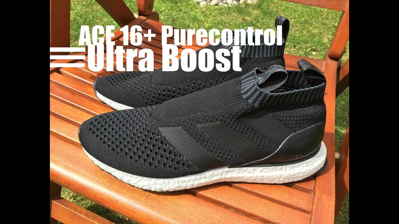 86cdb3935 2016 Adidas ACE 16+ Purecontrol ULTRA BOOST (Core Black) - Unboxing   On  Feet