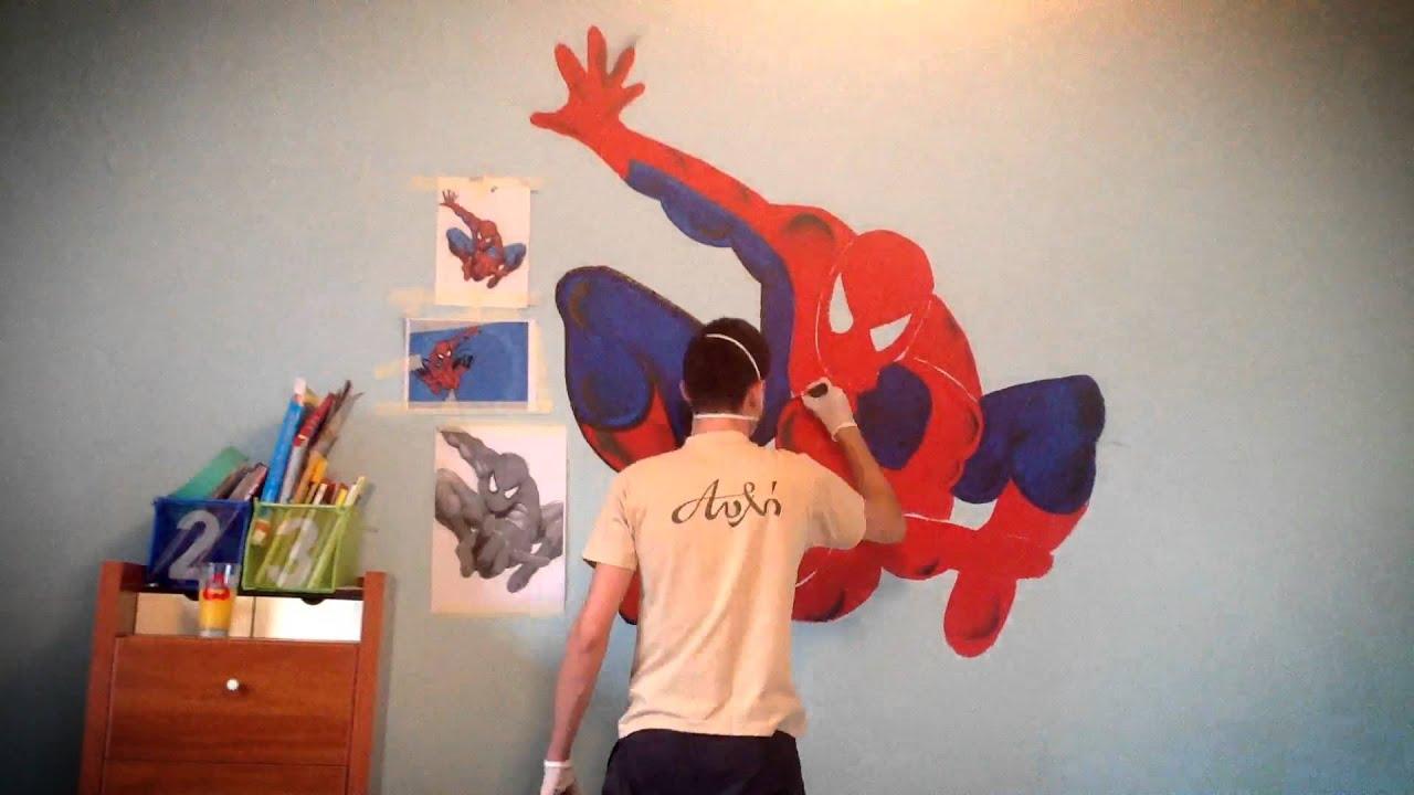 Spiderman Time Lapse Graffiti - YouTube