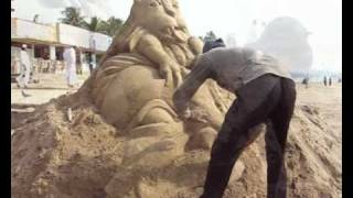 Good over Evil a Sand Sculpture