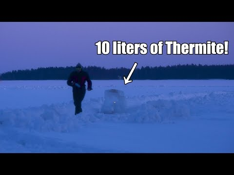 Giant Ice Lantern Vs. Thermite | In SUPER SLOW MOTION