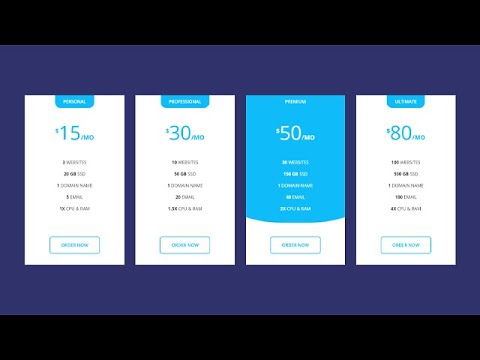 Responsive Pricing Table Using HTML & CSS