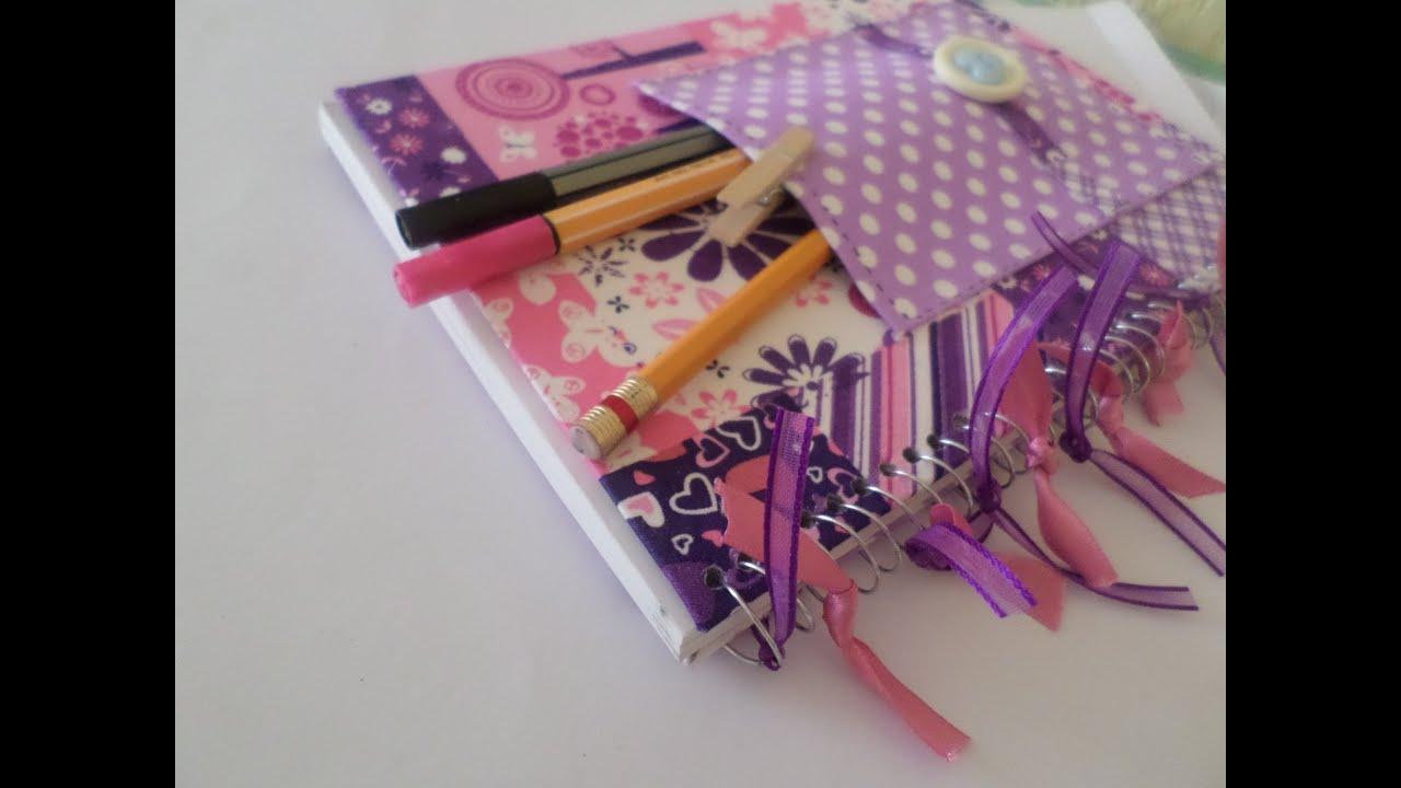 Forra un cuaderno con tela youtube - Como forrar muebles con tela ...