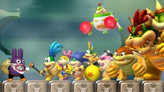 New Super Mario Bros U Deluxe - All Bosses with Nabbit