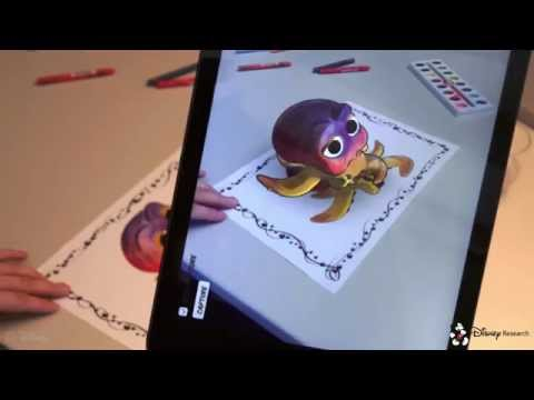 Live Texturing of Augmented Reality Characters from Colored Drawings