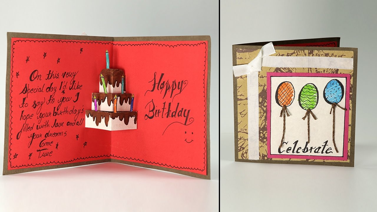 Handmade Birthday Greeting Card Cake Pop Up Birthday Card Step By