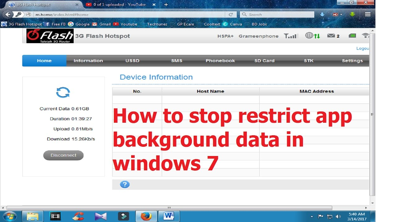 How to stop/disable restrict app background data in windows 7