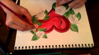 Hannisse Speed Drawing - Heart Framed With Roses - Manafest Never Let You Go