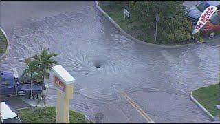 Broken water main causes flooding on Bird Road