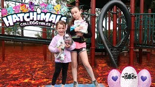 The Floor Is Lava! Surprise Egg Hunt For Hatchimals Colleggtibles At The Park! The Sassy Kids