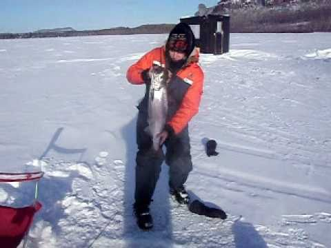Ice fishing 2011 surprise superior salmon youtube for Ice fishing youtube