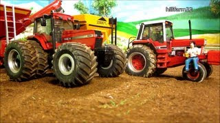 RC TRACTOR unload grain cart - farm toy action