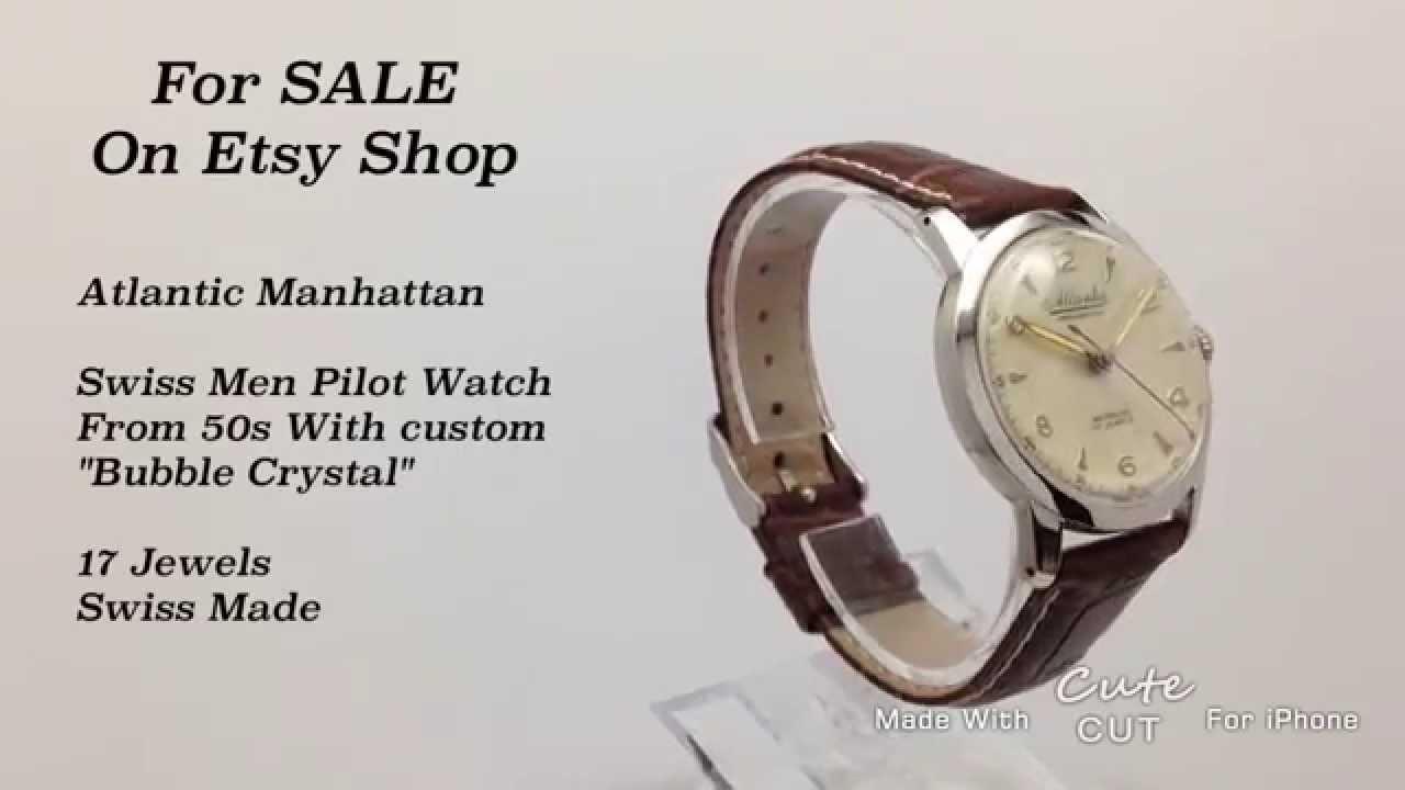 Atlantic Manhattan Swiss Men Pilot Watch From 50s With custom