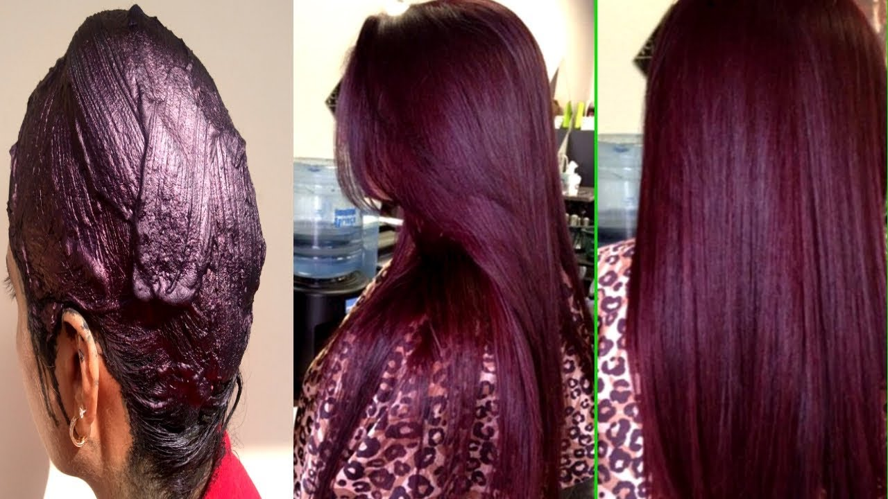 How To Colour Your Hair Naturally At Home - 100 % Natural Burgundy ...