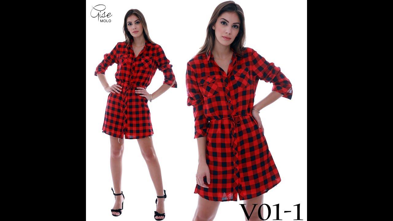 0a230a21d Vestido Feminina Xadrez Laço Camisão Moda Chemise Ref  V01 - YouTube
