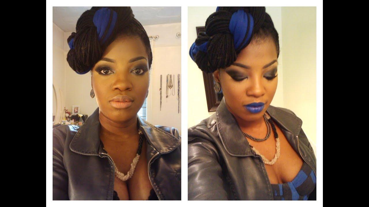 Smokey Eye & Royal Blue Lipstick Tutorial - YouTube