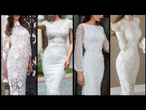 exclusive-and-trendy-white-color-lace-summer-wedding-dress/knee-length-middle-sleeve-prom-party-dres