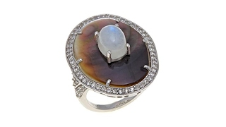Colleen Lopez Black MotherofPearl and Moonstone Ring thumbnail